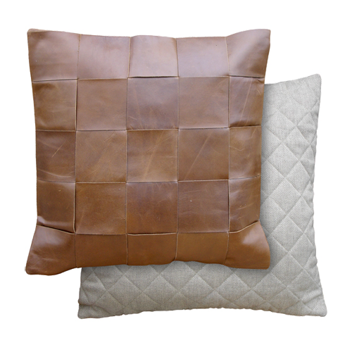Oly Studio Leather Wide Woven Pillow
