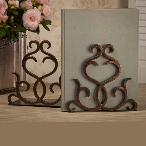 Dessau Bronze Flare Scroll Bookends
