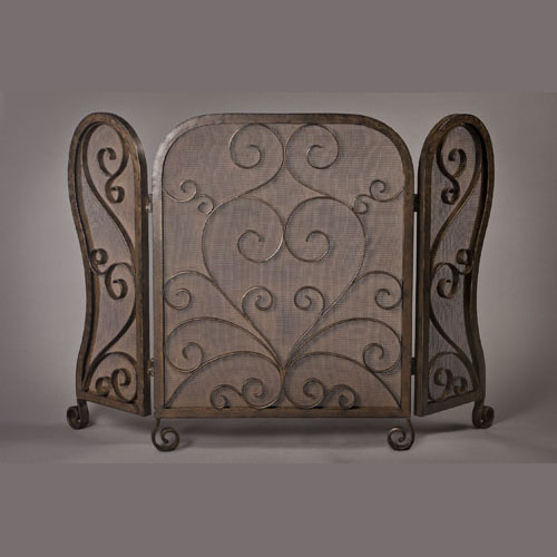Dessau Bronze Mesh Scroll Firescreen