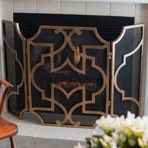 Dessau Antique Gold/Black Mesh Firescreen