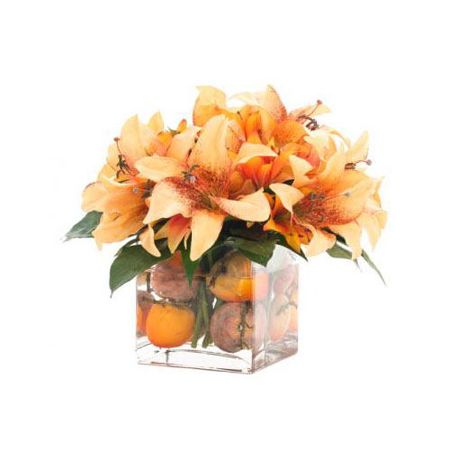 NDI  Orange Lily & Persimmon | Small Glass Cube
