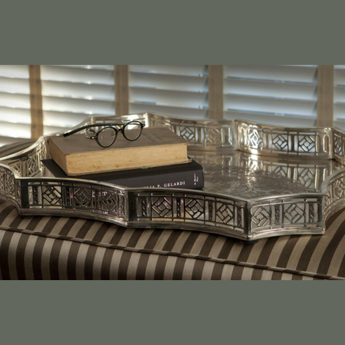 Dessau Antique Silver Scalloped Gallery Tray