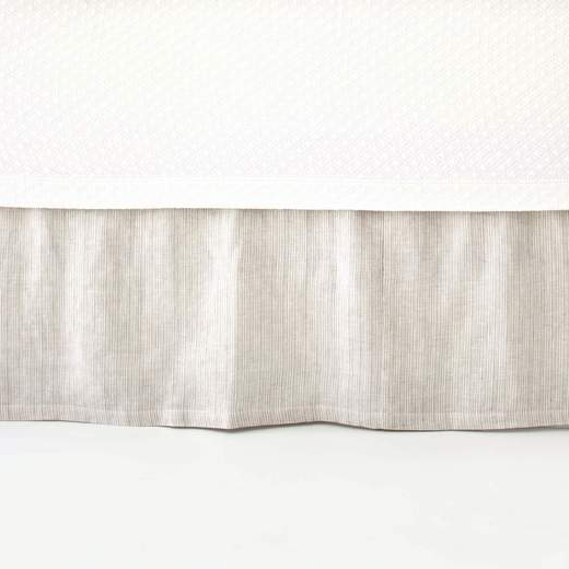 Pine Cone Hill  PINSTRIPE LINEN DOVE GREY BED SKIRT