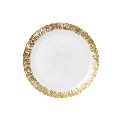 Vietri Ruffle Glass Gold Salad Plate