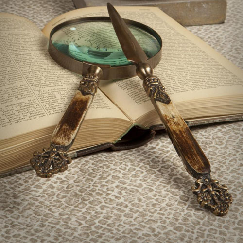 Dessau Antique Brass & Bone Magnifying Glass & Letter Opener