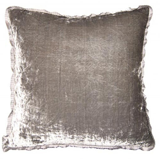 Square Feathers pewter silver velvet
