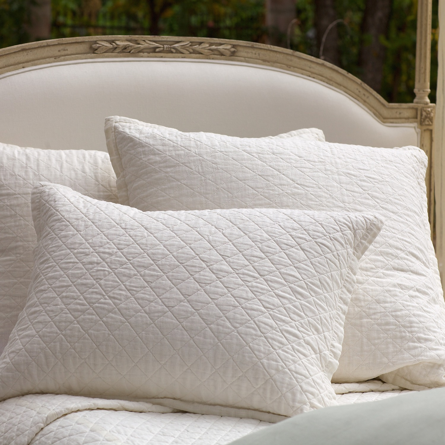 Emily Diamond Quilted Coverlet in White Linen