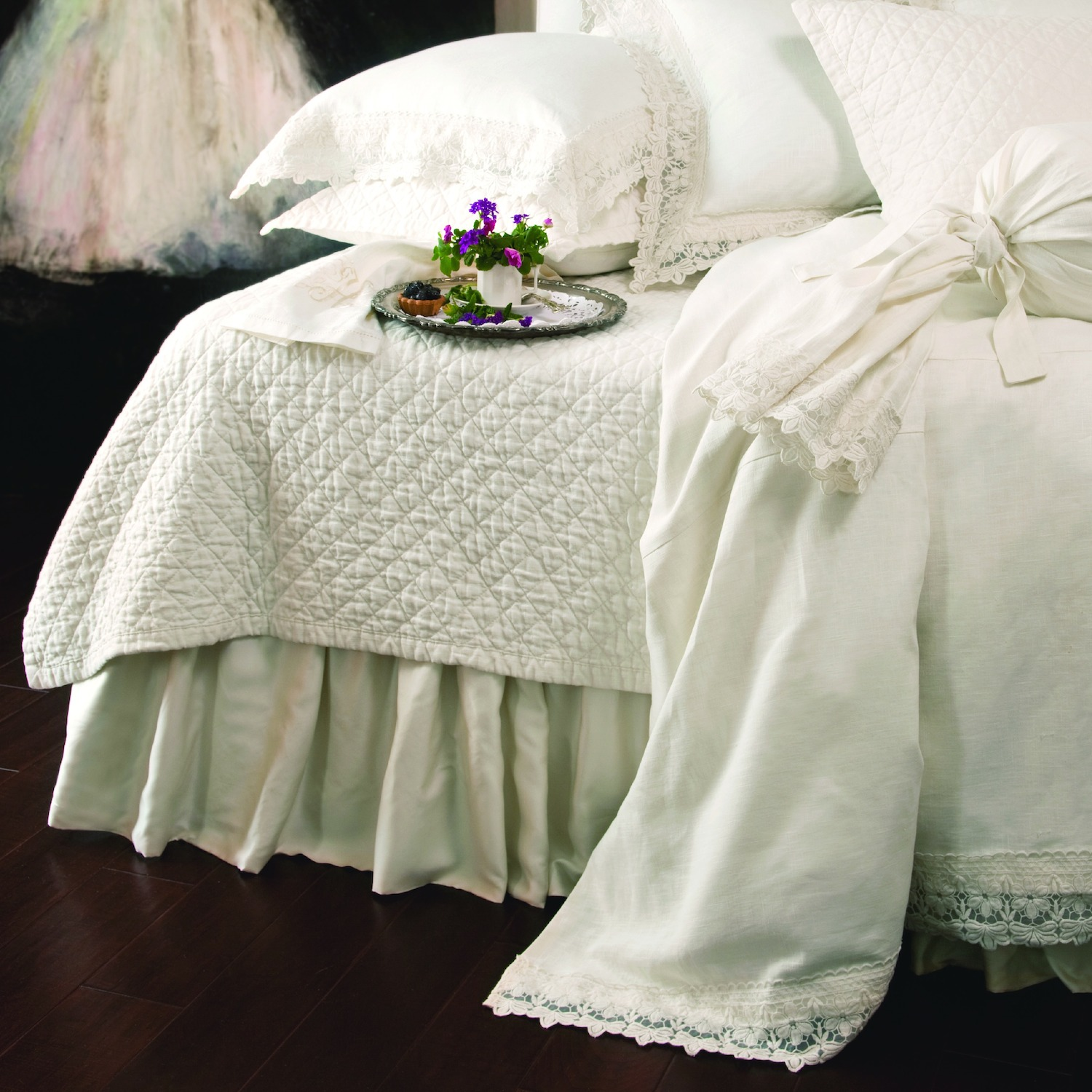 Theresa White Lace Bedskirt